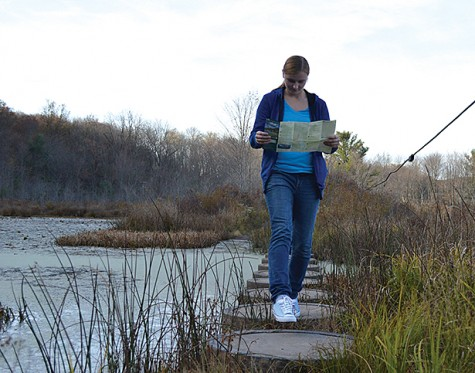 Junior health care management/pre-DPT major Arielle Kneller gazes over a map of the park while navigating through the stepping stones. The stepping stones lead over marsh lands in the middle of prime hunting grounds.