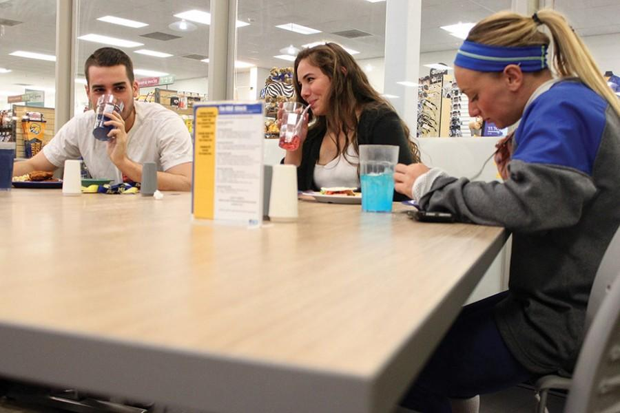Students enjoy the new and improved John and Mary Metz Dining Hall featuring new chairs, tables, lights, flooring and painting.