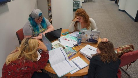 Beginning from top right going clockwise: Kristen Capitano (Junior English major), Kimberly Kowalski (Junior English/Secondary Education major), Madison Cardinale (Junior English major), and Melissa Milbut (Junior English major) prepare for all the work the upcoming school year brings for them.