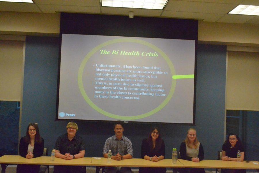From left to right: Kayli Boyes, Breann Hunsinger, Dominic Augustine, Margarite Connor, Erin Duvinski and Daniella Amendola at the Bi-Panel in Insalaco Hall.