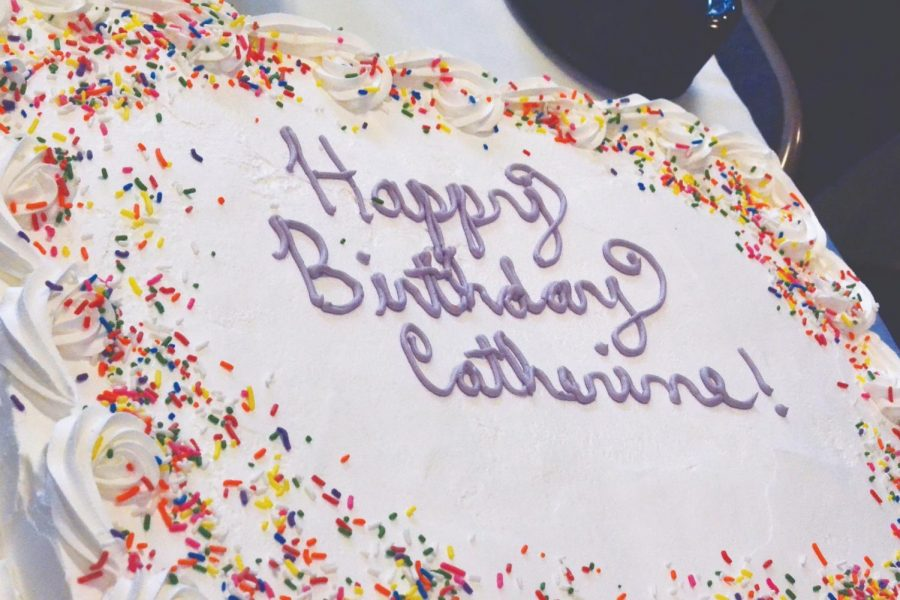 Catherine+McCauley%27s+241+birthday+cake+held+in+Banks+Student+Life+Center+on+Monday%2C+September+30%2C+2019.