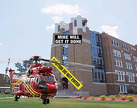 Bloomberg's helicopter landed outside of the future site of the new helipad. He approved the plans to knock down Mercy Hall for the helipad, which will allow students easier access to traveling.  Photos from Google Images