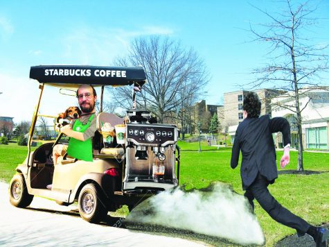A student chases down Dr. Patrick Hamilton, professor of English and part-time Starbucks employee, trying to get a cup of coffee before morning class.