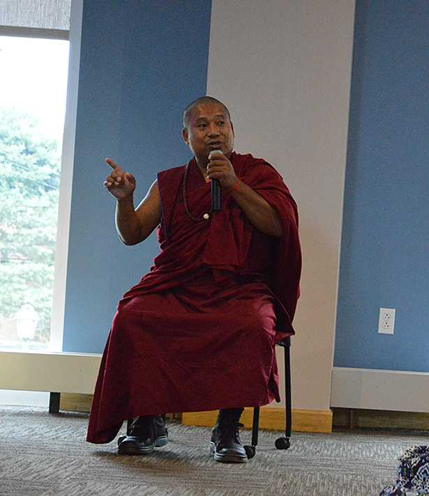 A+representative+from+the+the+Gaden+Shartse+Phukhang+Monestary+speaks+in+Insalaco+Hall+with+students+to+talk+about+meditation.+
