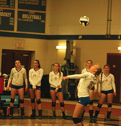Sophomore defensive specialist Maggie Martin serves the ball as her teammates watch.