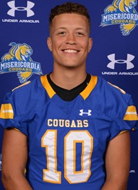 Brady Williams, sophomore, is becoming the start-up Quarterback for Misericordia's Football team.