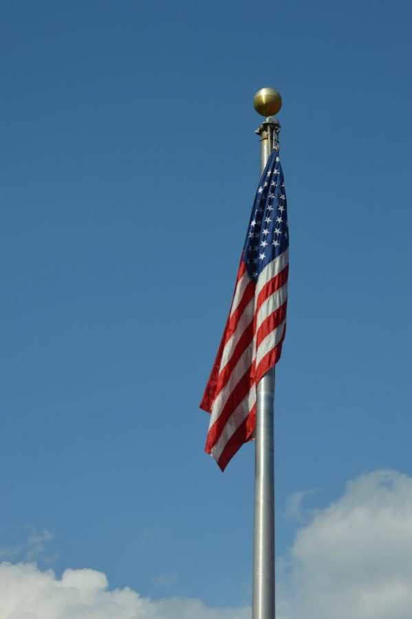 The American flag settling over Misericordia University's Mangelsdorf field.