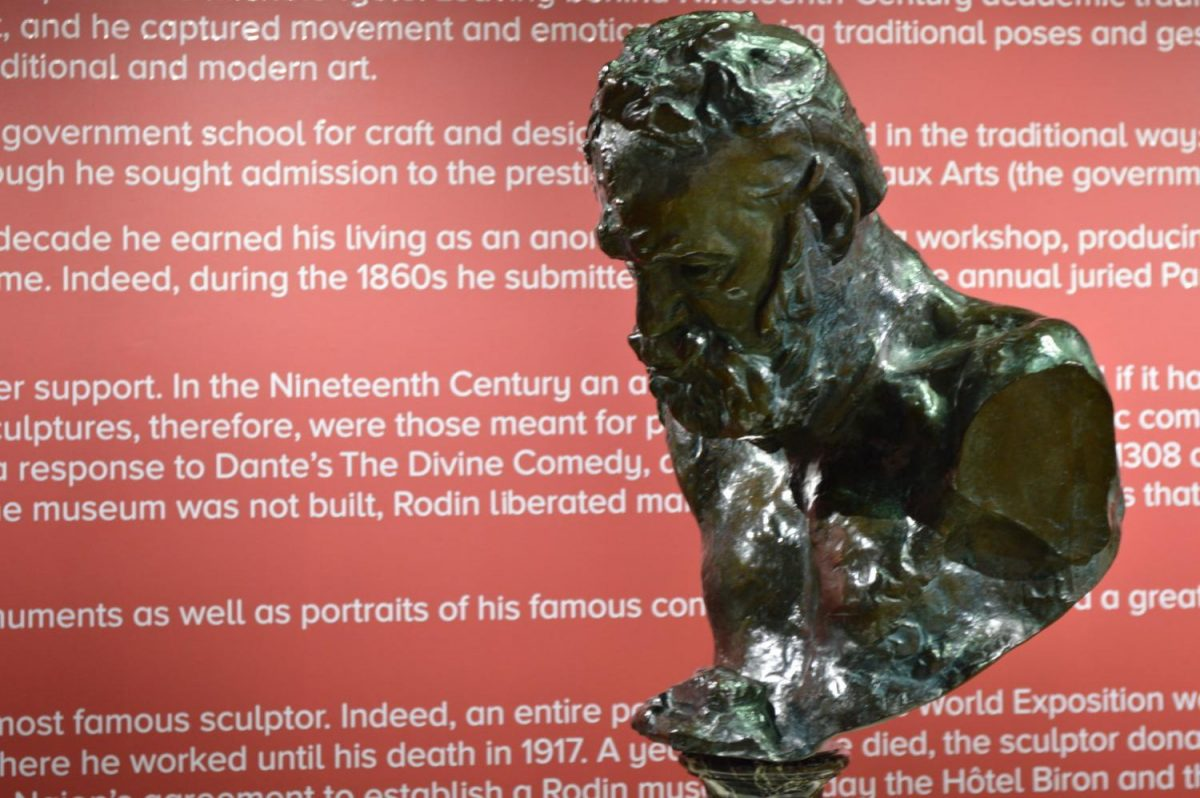 Sculptures from the Auguste Rodin exhibit at the Pauly Friedman Art Gallery located in Insalaco Hall until Dec. 9.