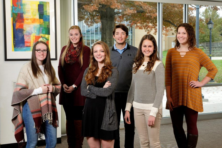 Above are the first recipients of the Sister Mary Glennon '62 full tution scholarship. First row from left, Alexa Monro, accounting; Alyssa Grienco, Government , Law, and National Security; and Alexa Thompson, Occupational Theraphy;  Second Row: Dana Stroup, Nursing; Thomas Weiskircher, Business Administration' and Tara Sweeney, Biology/ Doctor of Physical Therapy