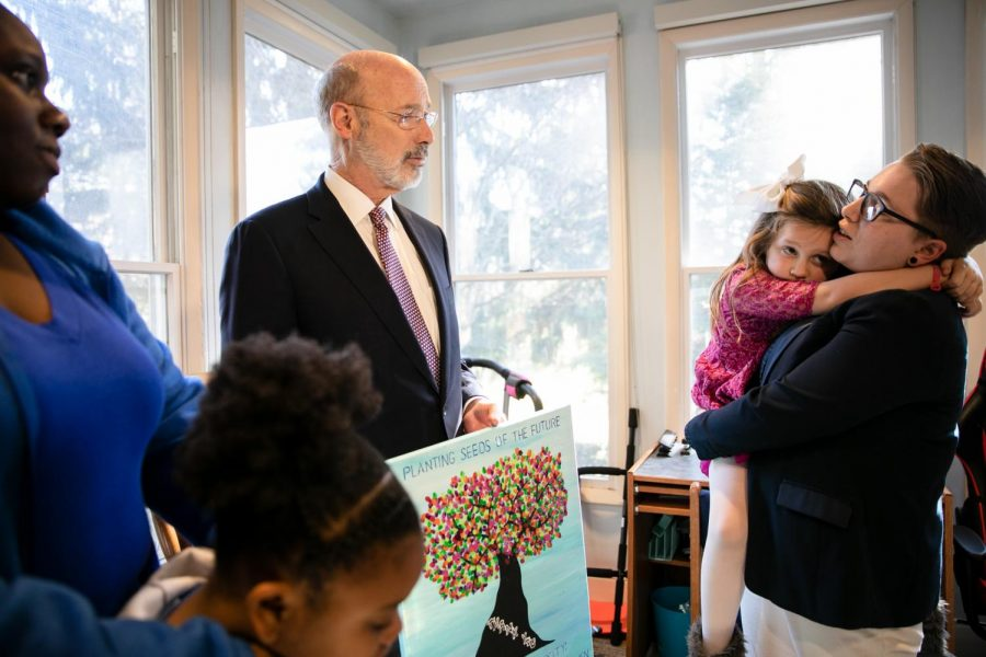 Governor Tom Wolf visited the campus for the Women with Children program. Left, junior business major Rochelle-Jade Scott and her daughter Sky Scott. Right, junior psychology and government law and national security major, Rachel Ahern, and her daughter Leora Ahern.
