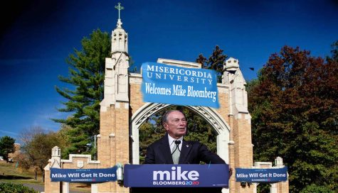 Bloomberg gives a speech outside the arch after the news of him taking over as Misericordia University's president was released to the public.  Photos from Google Images