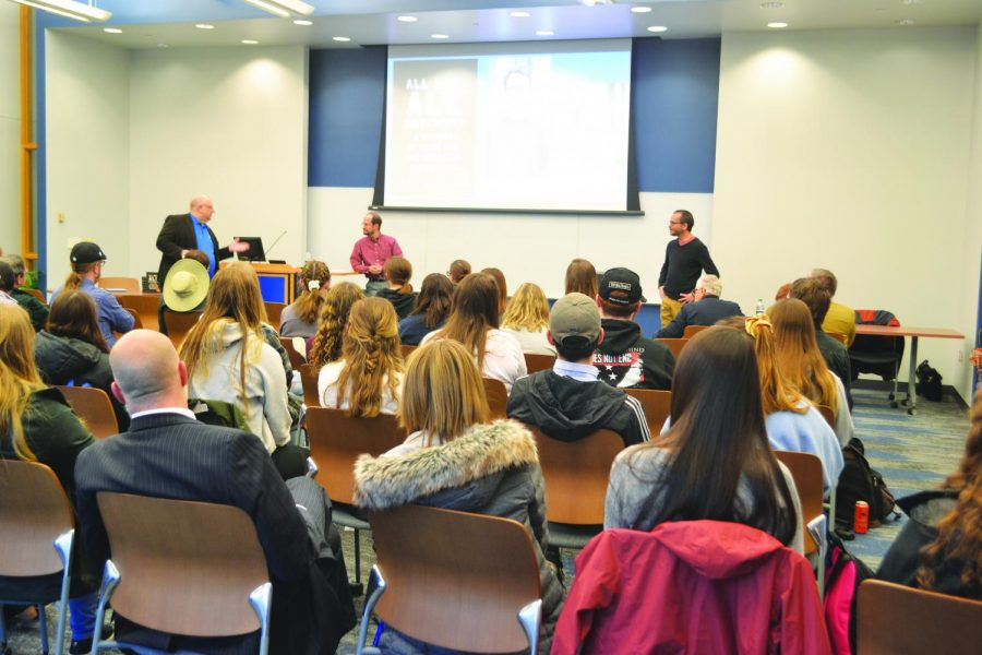 Both students and faculty showed up to support Dr. Patrick Hamilton, professor of English, and Dr. Austin Allan, professor of history, at their book discussion and signing on Feb. 18.