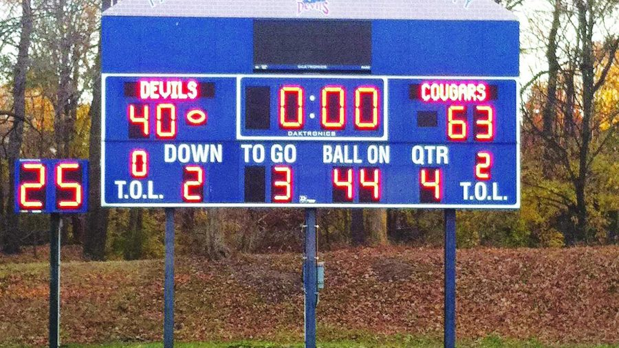 A view of the final scoreboard on Nov. 16, 2013, the date of the football team's first ever win.