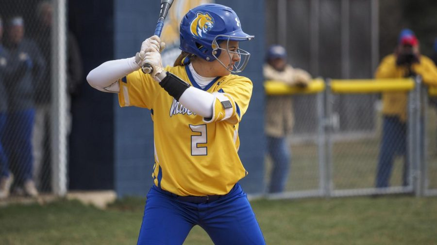 Amanda Butera, senior softball player and early childhood special education major, gets ready to hit the ball.