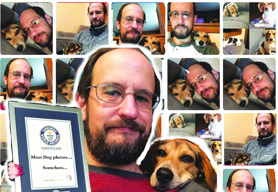 Dr. Patrick Hamilton, professor of English, appears in a photo collage with his dog Leia. Guinness World Records plans to publish this photo in their latest edition, which will include Hamilton's record for posting the most dog photos on social media.